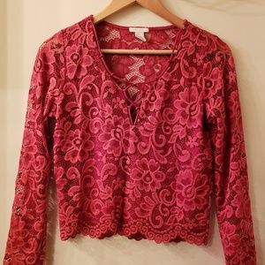 Red Lace Long Sleeve Crop Top